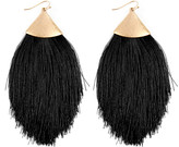 Riah Fashion Women's Earrings BLACK - Black & Goldtone Tassel Drop Earrings