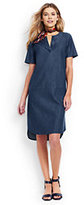 Lands' End Women's Petite Short Sleeve Tunic Dress-Dark Blue Chambray