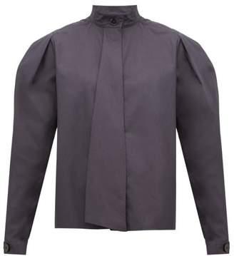 Lemaire Box Pleat Drape Tie Cotton Blouse - Womens - Dark Grey