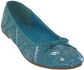 Turquoise Sequin Embroidered Ballet Flat