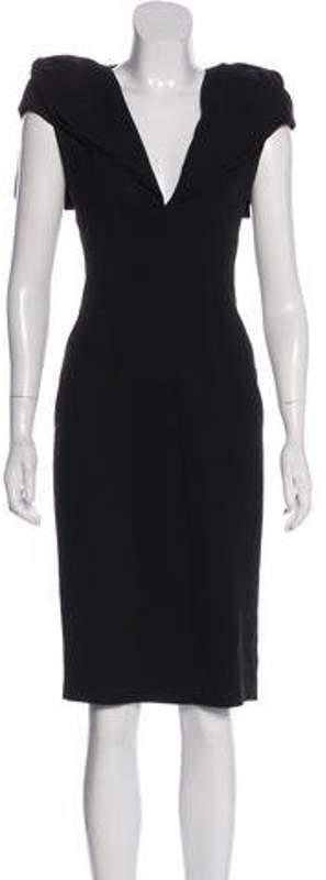 Alexander McQueen Crepe Sheath Dress Black Crepe Sheath Dress