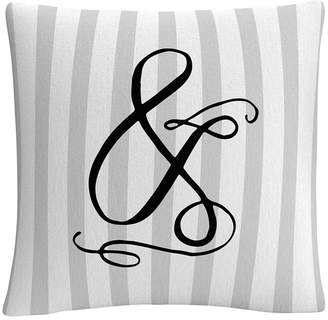 "Gray Striped Ornate Letter Script Ampersand 16x16"" Decorative Throw Pillow by Abc"
