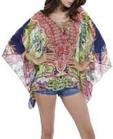 Myosotis510 Women's Chiffon Bandage V-neck Batwing Blouse Caftan Poncho Tunic Top
