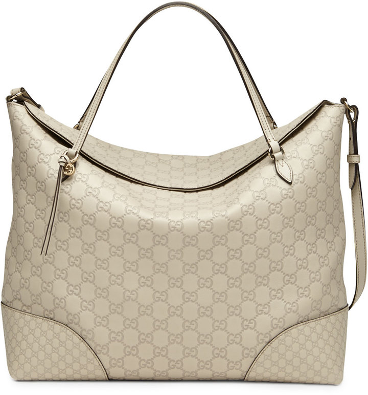 Gucci Bree Large Double-Handle Leather Tote, Mystic White