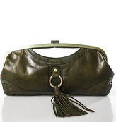 Latico Leathers Green Tassel Detail Fringe Tassel Leather Clutch Handbag