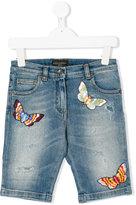 Dolce & Gabbana embroidered denim shorts - kids - Cotton/Spandex/Elastane - 12 yrs