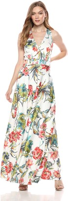 Nicole Miller Women's Faux wrap Gown with Back Bow