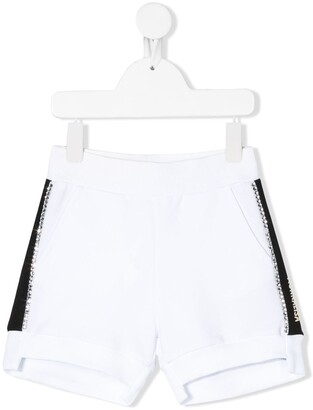 MonnaLisa Rhinestone-Embellished Track Shorts