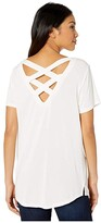 Tribal Short Sleeve Lace-Up Top (Cameo Rose) Women's Clothing