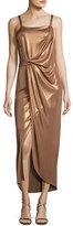 Halston Sleeveless Square-Neck Draped Jersey Dress, Dark Beige