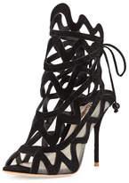 Sophia Webster Mila Suede Cutout Peep-Toe Sandal, Black