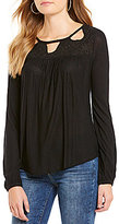 Jessica Simpson Fifi Cutout Embroidered Peasant Top