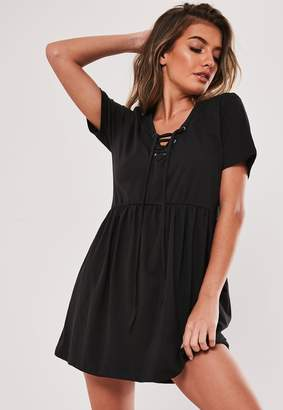Missguided Black Lace Up Front T Shirt Dress