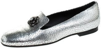 Chanel Metallic Textured Leather Camellia Loafers Size 40