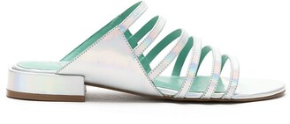 Blue Bird Shoes Strappy Holographic Leather Sandals