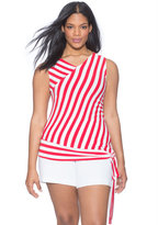 ELOQUII Plus Size Sleeveless Striped Side Tie Top
