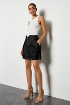 Washed Black Denim Mini Skirt