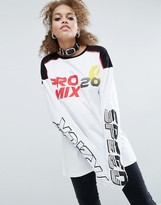 Asos T-Shirt With Track Race Print And Super Long Sleeves
