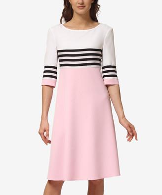 LADA LUCCI Women's Career Dresses Light - Light Pink & Black Stripe Color Block Three-Quarter Sleeve A-Line Dress - Women & Plus