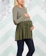 Love Story Olive & Ivory Stripe Maternity Tunic