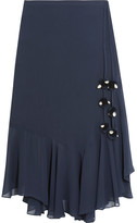 Figue Maxime Pompom-embellished Silk-georgette Skirt - Midnight blue