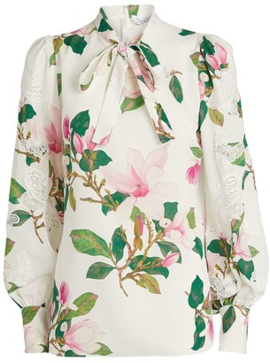 Andrew Gn Lace Insert Floral Blouse
