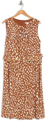 London Times Dot Jersey Keyhole Belted Dress