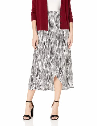 Three Dots Women's ZB3254 Zebra Print Crepe WRAP Skirt