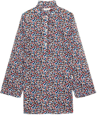Tory Burch Deveuve Ruffle-trimmed Floral-print Cotton-voile Tunic