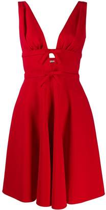 Miu Miu bow detail plunge dress