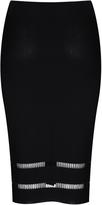 Glamorous Black Cut Out Detail Midi Skirt