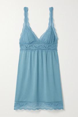 Eberjey Anouk Lace-trimmed Stretch-modal Chemise - Light blue