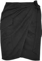 Etoile Isabel Marant Olga Cotton-twill Wrap Mini Skirt - Black