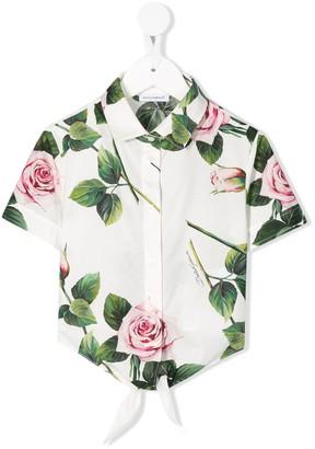 Dolce & Gabbana Rose Print Cropped Shirt