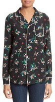 RED Valentino Women's Wallpaper Floral Print Silk Blouse