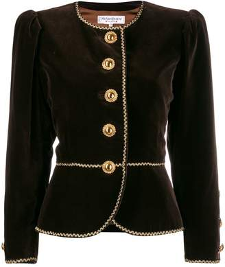 Saint Laurent Pre-Owned collarless embroidered jacket