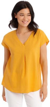 Regatta Extended Short Sleeve Linen Blend Woven V-Neck Pleat Front Top