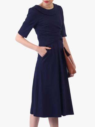 Jolie Moi Roll Collar 50s Dress, Navy