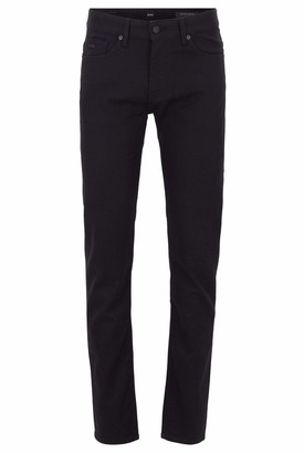 HUGO BOSS Mens Delaware BC-C Slim-fit Jeans in Black Rinse-Washed Stretch Denim