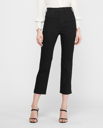 Express Super High Waisted Original Black Straight Cropped Jeans