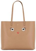 Fendi Faces Leather Tote Bag, Tan