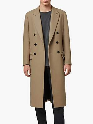 AllSaints Arley Double Breasted Coat, Light Camel Brown
