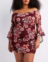 Charlotte Russe Plus Size Floral Off-The-Shoulder Bodycon Dress