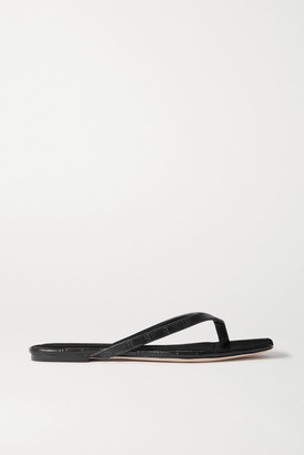 Studio Amelia 2.2 Croc-effect Vegan Leather Flip Flops - Black