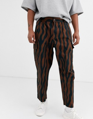 Obey Fubar zebra patterned cargo trouser in brown