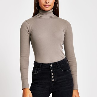 River Island Womens Brown long sleeve roll neck ribbed top