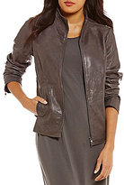 Eileen Fisher Stand Collar 2-Way Zip Shaped Jacket