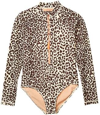 crewcuts by J.Crew Leopard Rashguard Suit (Toddler/Little Kids/Big Kids) (Lana Leopard Dusty Taupe) Girl's Swimwear Sets