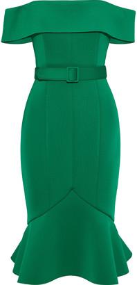 Badgley Mischka Off-the-shoulder Belted Scuba Dress
