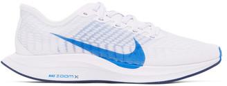Nike White and Blue Zoom Pegasus Turbo 2 Sneakers